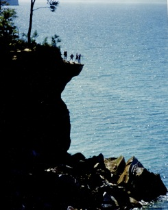 Hikers on Ledge, Pictured Rocks