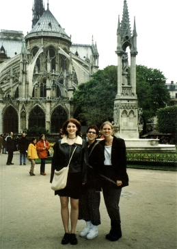Three sisters at the Cathedral of Notre Dame in Paris.