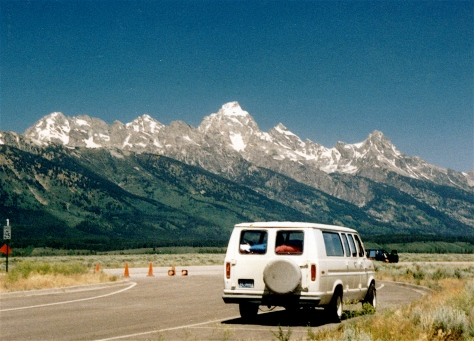 The Ford van was perfect for our family of five in the Teton Mountains on an extended camping trip.