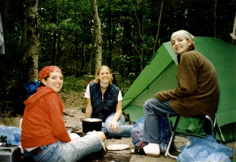 Angie, Stacy and Wendi camping on South Manitou Island as young adults.