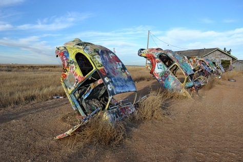 5 VW's sticking out of the ground.  Tourist attractions along Route 66 were zany and imaginative.