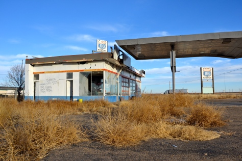 The abandoned Phillips 66 filling station, Conway, Texas.