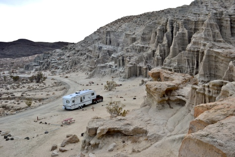 Campers can set up right at the base of the cliffs.