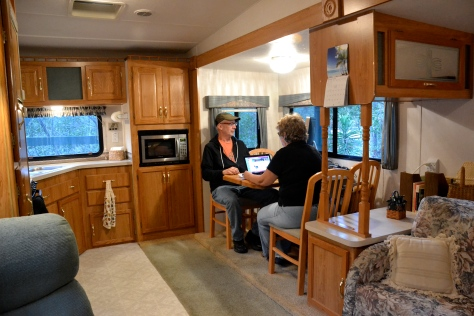 The Coachmen fifth-wheel has a slide-out that expands our sense of home.