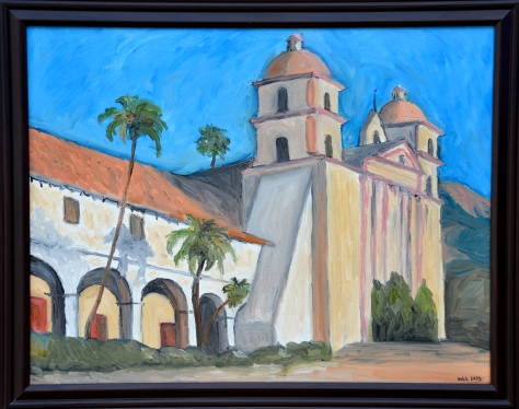 Wendi's oil painting of the famous Santa Barbara Mission is part of her collection for sale on the waterfront.