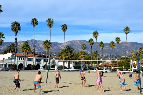 Sand volleyball is popular on the wide sandy beaches of Santa Barbara.
