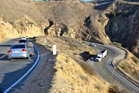 Vehicles negotiate the switchbacks on county road 23 between Fillmore and Simi Valley.