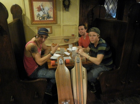 After a rough day of skaterboarding Rusty's Pizza Parlor is the spot for skaters from all over (two Swedes and a Canadian in this photo).
