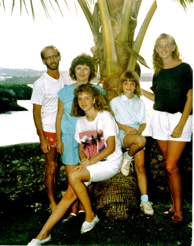 "The Sims family at their tropical ""home"" in the Dominican Republic, (1989)"