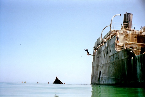 Kids climbed and jumped off the shipwreck at South Manitou Island, Michigan.