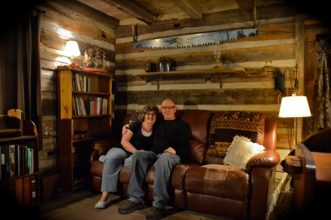 We moved from a 10-room house to a one-room log cabin.
