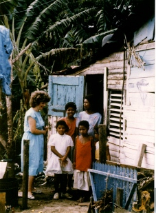 Kaye visits with neighbors in Santiago.