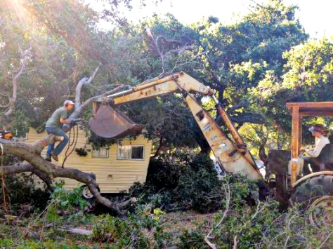The Santa Ana winds torn down a huge oak that landed on the camp office (yellow motorhome).