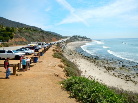 Mugu Point Beach is populated by surfers.