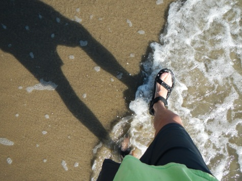 Bob's feet on the beach