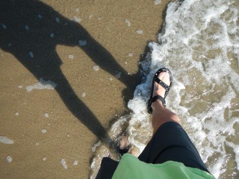 Bob's feet on the beach