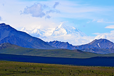 Mt. McKinley (Denali) from a distance of 75 miles on the Parks Road.