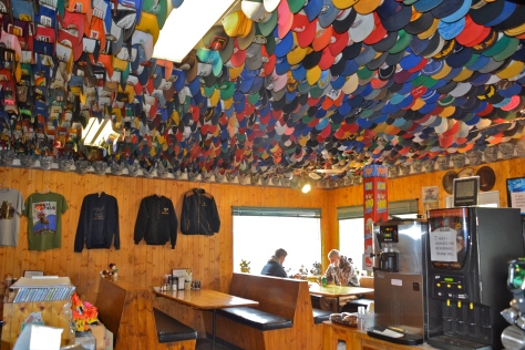 Toad River Lodge has 7,000 hats attached to the ceilings.