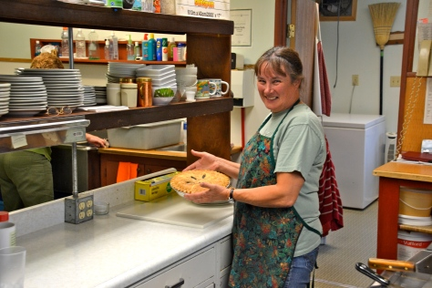 Donna at Coal River Lodge at Milepost 533, was the owner and chief cook.  Her lodge is up for sale.