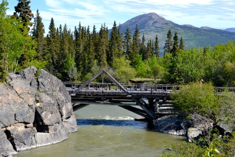 The second log bridge at Canyon Creek was designed to carry military vehicles and civilian traffic alike.
