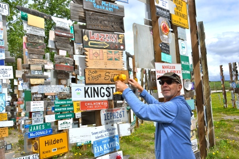 The Signpost Forest was started by Carl Lindley, a US soldier who was helped construct the Highway.  We added our sign to the 72,000+ collection.