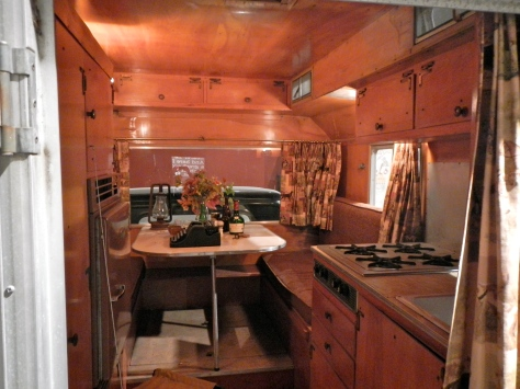 The interior of Steinbeck's pickup camper.