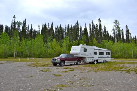 This RV park at Coal River, Yukon, was 100 miles from the nearest power grid and was operating on its own generator.  We had the campground to ourselves for the night.