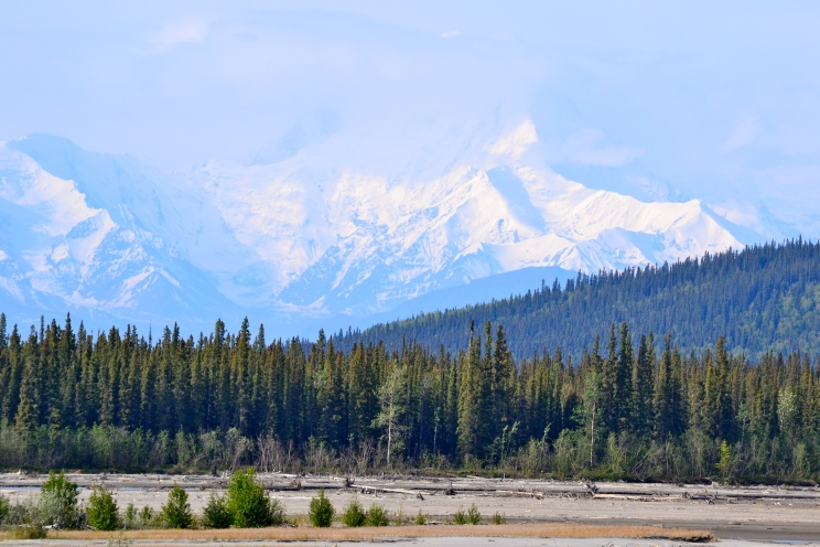 Gorgeous sights line the Alaska Highway from beginning to end.  This is the mountain range the road follows between Delta Junction and Fairbanks.