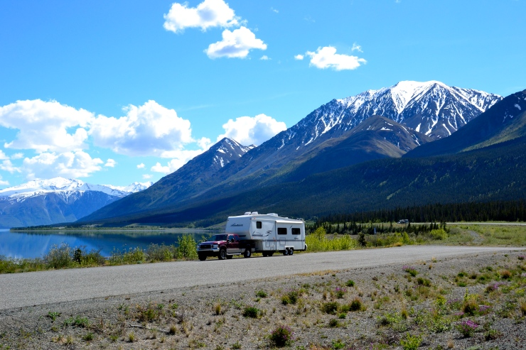 The Alaska Highway skirts Kluane Lake in the Yukon.