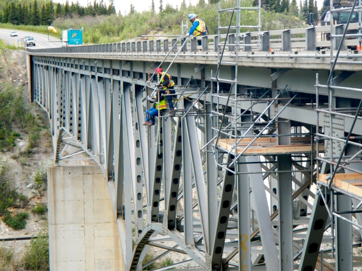 Traffic across this bridge was narrowed to one lane while workers maintained the superstructure beneath.