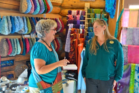Kaye talks with Michelle, a shop owner from Toronto, about how she ended up in Alaska.