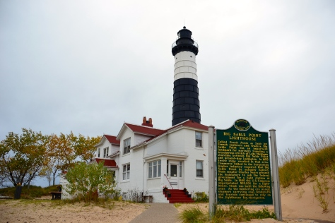 The historical 1867 lighthouse and keepers' house at Big Sable Point.