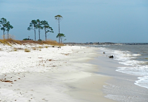 Dauphin Island is surrounded with white sand beaches.  Oone of them a short walk from our campsite.