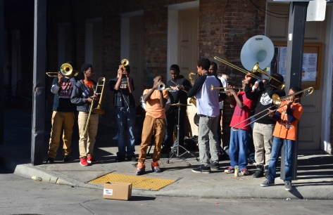 A 12-piece youth band was performing on the street corner across from the Market Cafe.
