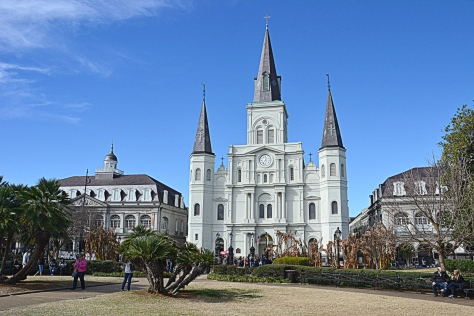 Saint Louis Cathedral towers over Jackson Square.