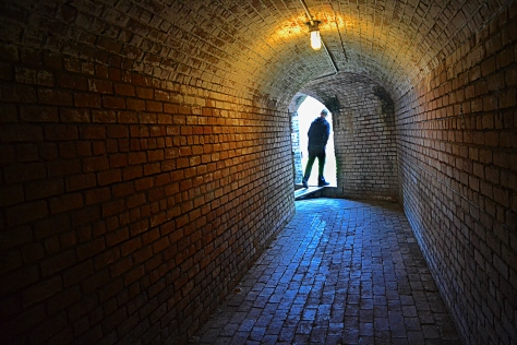 Fort Gaines has long tunnels leading to the five corner bastions.  Cool.