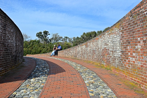 The approach to Fort Macon is a study in beautiful curves.
