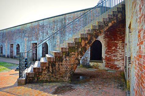 My favorite feature at Fort Macon was the three identical stairways built over graceful arches.