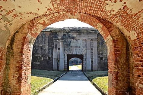 Fort Morgan is a fort within a fort.  This view is from the tunnel through the postern (outer fort) viewing the entrance of the inner fort.