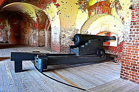 Fort Pulaski had several cannons installed at their original stations.