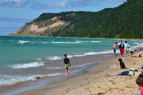 Perched sand dunes loom over the beaches along the Leelenau Peninsula.