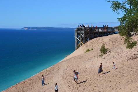 The scenic overlook provides a gander at Lake Michigan and the distant South and North Manitou Islands, also part of the National Lakeshore.