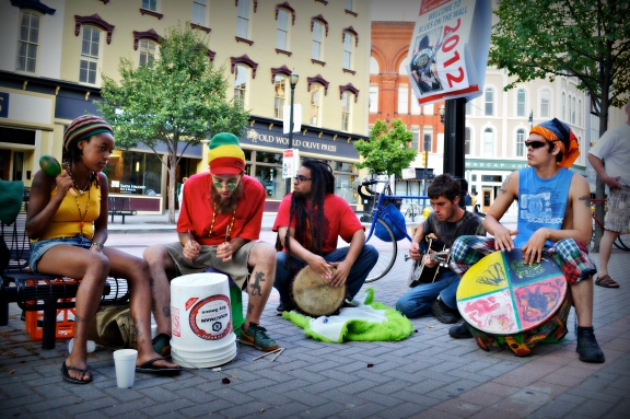 Musicians play on the sidewalks and on the big stages in the center of the city.