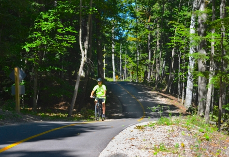 The Sleeping Bear Heritage Trail is a premiere cyclist's destination that winds along the shoreline for 27 miles. It's a steep one with grades of up to 11%.