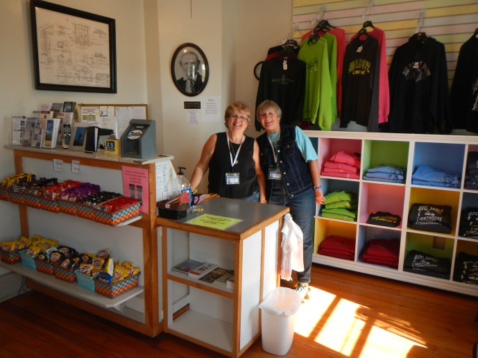 Kaye and Kathy sell souvenirs and snacks at the lighthouse gift shop