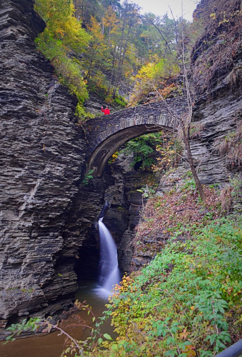 The first bridge spans the gorge over the first of 19 waterfalls and cascades.