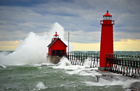 Grand Haven lighthouse in a storm