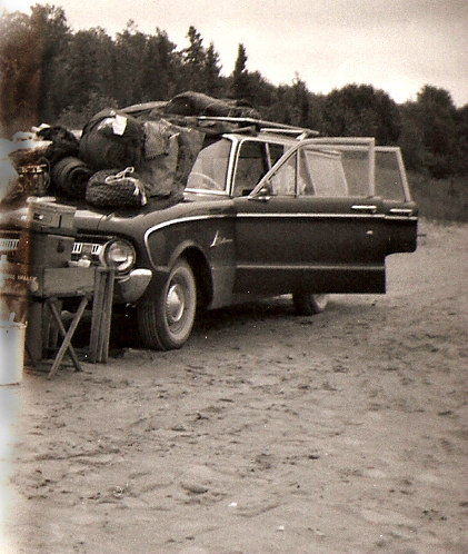 Dad overloaded the old station-wagon and then drove it along the beach as far as he could to reach a remote campsite.