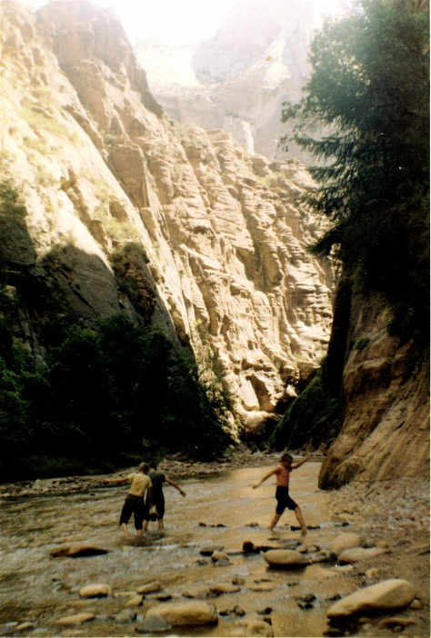 Thanks to my dad's travel bug, my brothers and I waded into the narrows at Zion Canyon National Park.