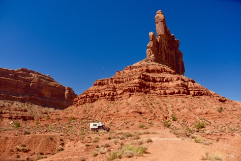 I parked the camper at the foot of a massive monolith.